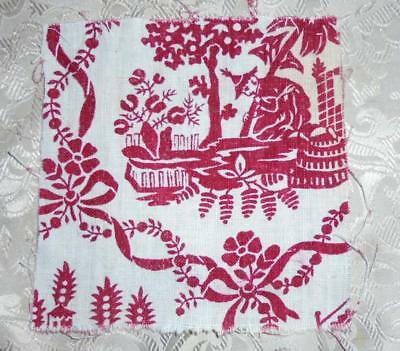 FRAGMENT EARLY 19th CENTURY FRENCH LINEN TOILE DE JOUY, CHINOISERIE 79