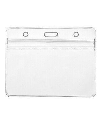 50x Clear Plastic ID Badge Card Plastic Wallet Pocket Holder Pouchs 98x86mm UK