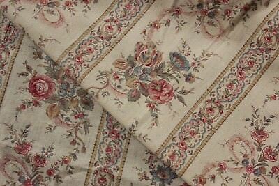 Curtain Antique French 1880 Romantic Floral and stripe drape Victorian period