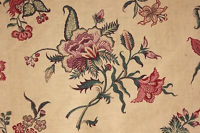 Fabric Antique French Indienne printed cotton curtain 19th bed hanging 1850-1880