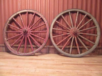 """2 Matched Antique 30.5"""" Wooden Spoke Horse Drawn Buggy Wagon Wheel Carriage"""
