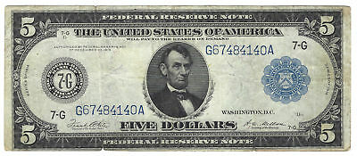 $5 1914 Federal Reserve Note Chicago Fr#871A