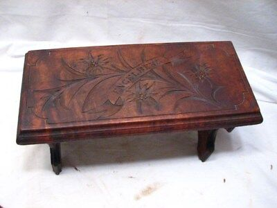 Early Hand Carved Engelberg Family Folding Foot Stool Rest Portable Bench Rest
