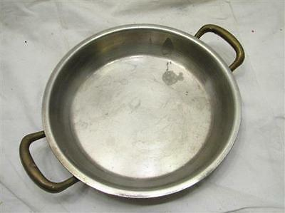 Vintage Copper Two Brass Handled Saute Sauce Pan Fry Cookware Kitchen Tool