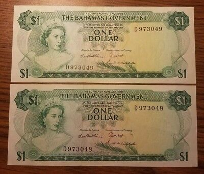 1965 Bahamas 1 Dollar **2 consecutively numbered notes** CU uncirculated 3 sign