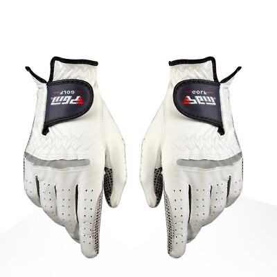 Mens Leather Golf Gloves Left Right Hand White Pair Sport New Winter Breathable