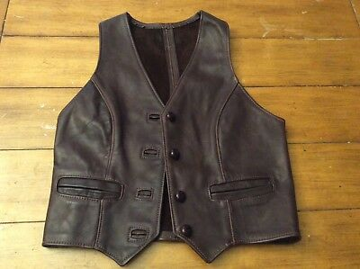 Vintage custom made rich brown Leather Vest boys or woman XS