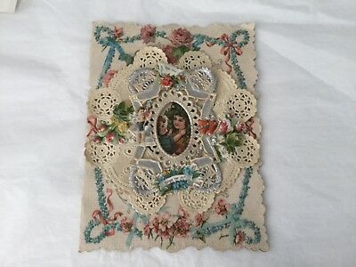 Antique Victorian large unsigned die-cut Love note Valentines card