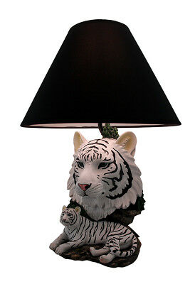 Zeckos White Lightning Sculptural Tiger Table Lamp w/Black Shade 19 Inch
