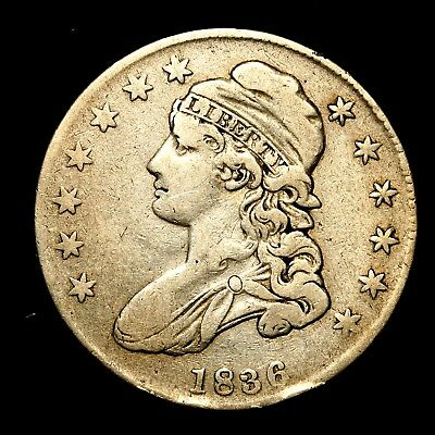 1836 ~**BETTER GRADE**~ Silver Capped Bust Half Dollar Antique US Old Coin! #V38