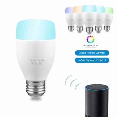 SMART E27 multi colour 7W RGBW LED Compatible with Alexa and Google home