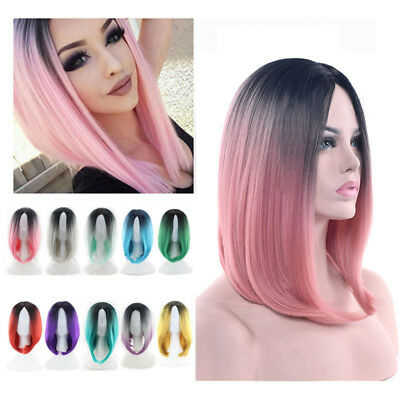 1x Heat Resistant Synthetic Ombre Wigs Long Straight Bob Black&Pink Purple Wigs