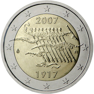 """2007 Finland 2 Euro Uncirculated Coin """"Independence From Russia 90 Years"""""""