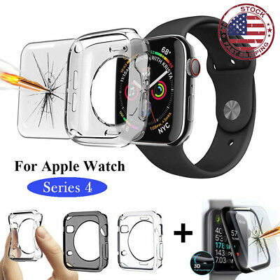 For Apple Watch Series 4 Full Body Screen Protector Soft TPU Case Cover CA SAC