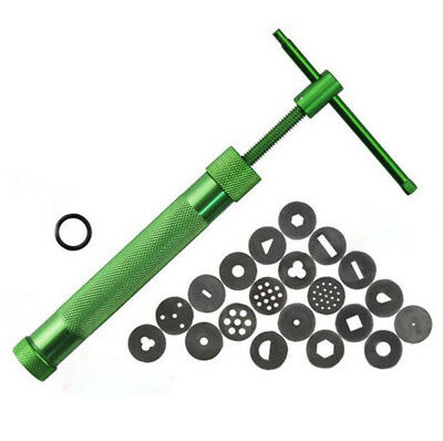 Green Clay Extruder Polymer Craft Gun Cake Sugarcraft Kit Tool W/20Discs #D