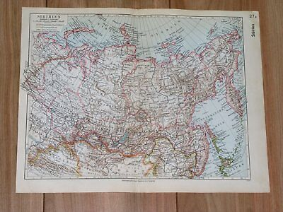 1936 Original Vintage Map Of Eastern Russia Siberia Tannu Tuva Mongolia China
