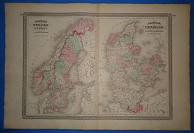 Vintage 1873 NORWAY SWEDEN DENMARK MAP Old Antique Original Johnson's Atlas Map