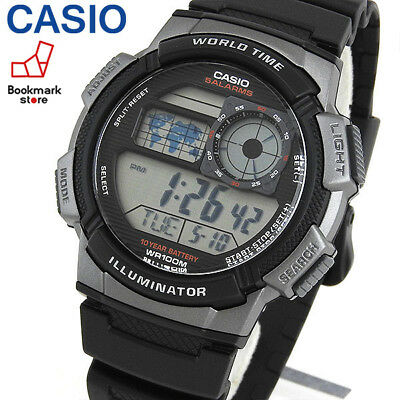 NEW CASIO AE-1000W-1BVCF Men's World time Watch DIGITAL / LED light Sports