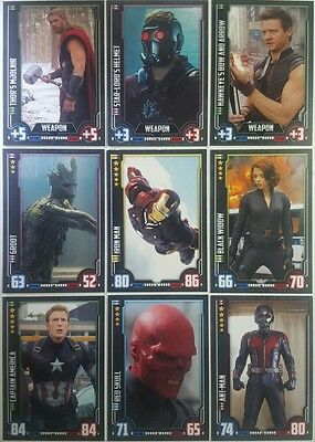 MARVEL HERO ATTAX CINEMATIC UNIVERSE Trading Card Set of 160 topps UK 49 - 208