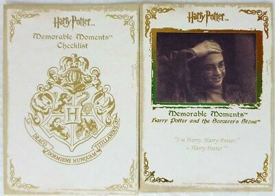 HARRY POTTER MEMORABLE MOMENTS Series 1 Trading Card Set of 72 artbox 2006