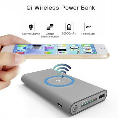 50000mAh Qi Wireless USB LED Battery Charger Fast Charging Power Bank Case Set