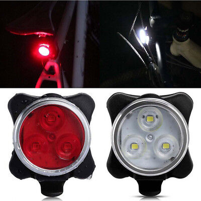 3 LEDs USB Rechargeable Bike Headlight Taillight Caution Bicycle Lights Lamps US