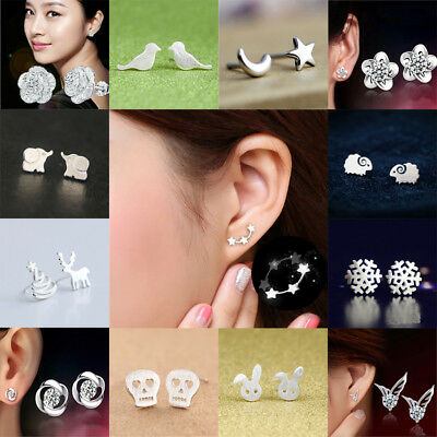 925 Sterling Silver Plated 3 Star Stud Earrings Ear Jewellery Women Small Animal