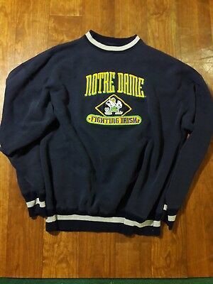 Vintage Notre Dame Fighting Irish Logo Athletic Mens blue Sweatshirt Size Xl