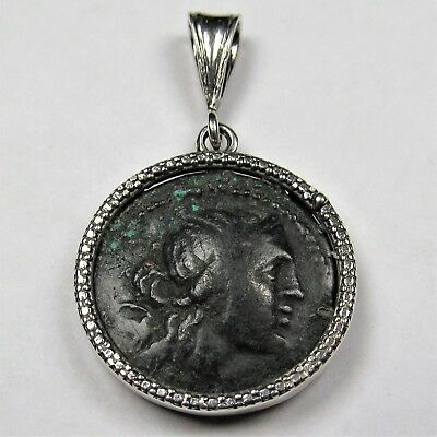 Authentic Ancient Greek Bronze Coin Sterling Silver Pendant Artemis Taurus #220