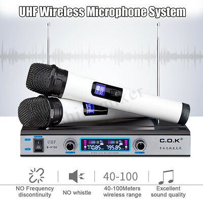 UHF Wireless Microphone System LCD Display Dual Handheld Mic Party KTV  new