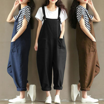 UK Womens Loose Baggy Overalls Strappy Dungarees Oversize Ladies Jumpsuit New