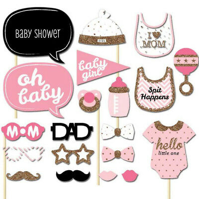 Set of 20pcs Baby Shower Photo Booth Props Little Lady Girl New Born Party Decor