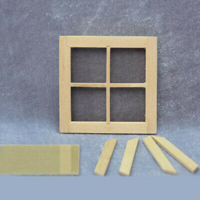 1:12 Miniature Unpainted Wooden Door Window Furniture Assembled Dolls House