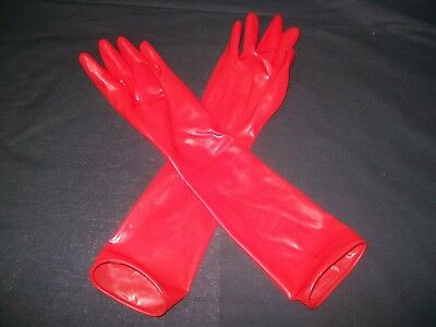 Red Fetish Bondage Rubber Latex Wear Elbow Gloves 1520 Gimp Catsuit Kinky Sexy