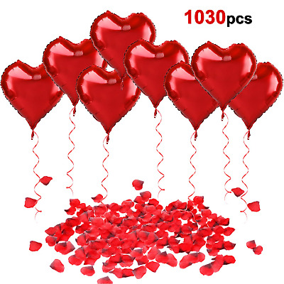Howaf 30Pcs 18inch Red Heart Foil Helium Balloons with Ribbon, 1000Pcs...