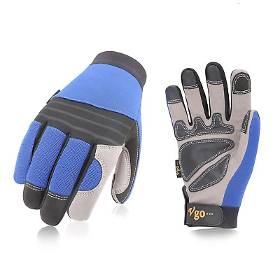 Vgo 3 Pairs Synthetic Leather Work Gloves for Men, Multifunction: Drive,...