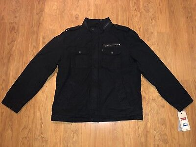 Levi's Men's Washed Two Pocket  Black Sherpa Lined Military Jacket Size XL $180