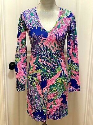 b80bec697bcee0 NWT Lilly Pulitzer Beacon Long Sleeve T-Shirt Dress Multi Fan Club Reduced  XS