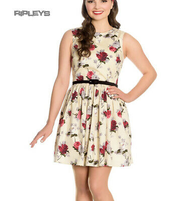 197d016233 Hell Bunny 50s Vintage CECILY Cream Mini Skater Dress Roses Flowers All  Sizes