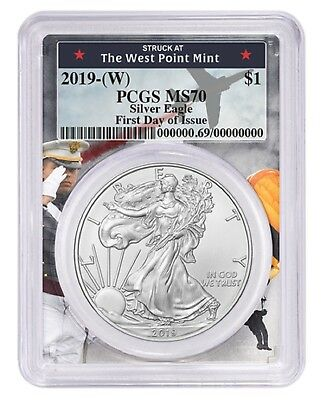 2019 1oz Silver Eagle PCGS MS70 First Day Issue West Point Frame