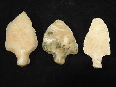 Lot of THREE 55,000 to 12,000 Year Old AAA Aterian Artifacts Algeria 63.2gr e
