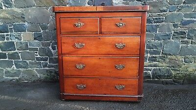 VINTAGE VICTORIAN 1890's PINE WOOD CHEST OF DRAWERS CABINET SCOTTISH MADE