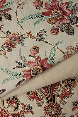 Vintage French fabrics antique material PROJECT BUNDLE  Indienne c1870's