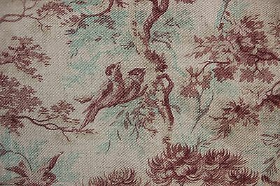 CURTAIN Antique French Fabric 1880 printed cotton twill weave upholstery weight
