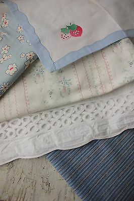 Antique  French fabric Project bundle quilting pillow materials scraps pieces