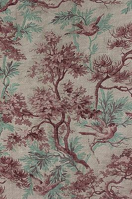 CURTAIN Antique 1880 French bird printed cotton twill weave upholstery old