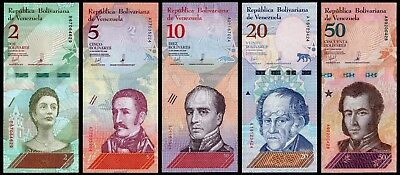 B-D-M Venezuela Set 2 5 10 20 50 Bolívares 2018 Pick New Design SC UNC