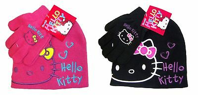 Hello Kitty winter hat gloves set for kids, girls different colors Black or Pink