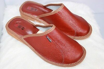 Women Ladies 100% Leather Slipper Mules Clogs Slip On Shoes All Sizes