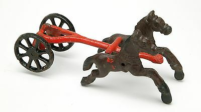 "Vintage Cast Iron Toy ""Two Horses & Two Wheels"". No Wagon."